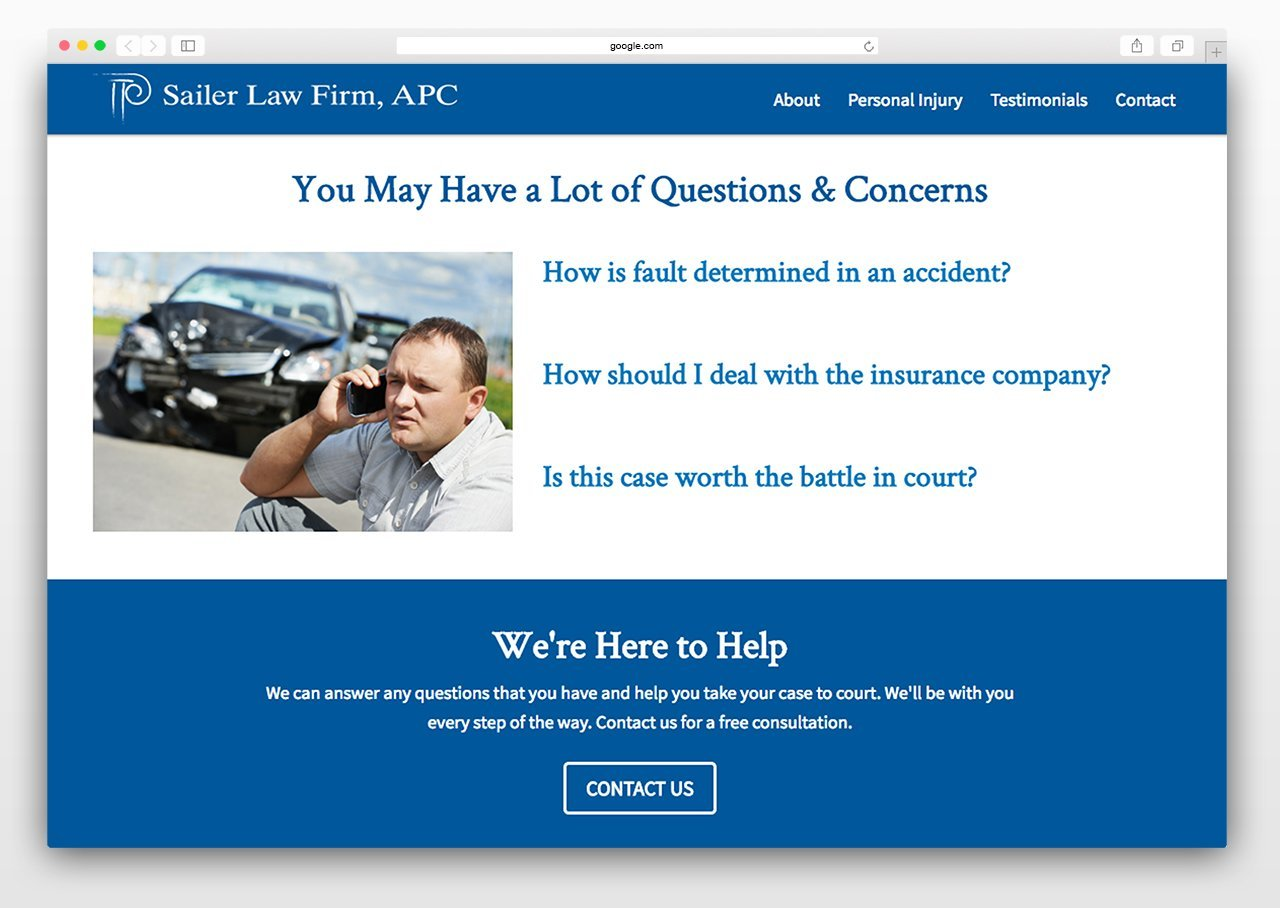 Law firm website content focused on client